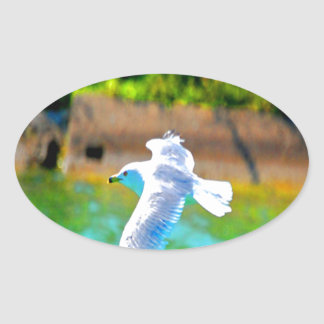 seagull fly to love paradise oval stickers