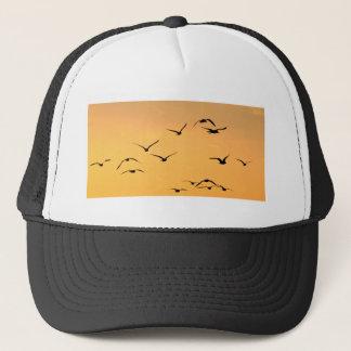 Seagull flying at night trucker hat