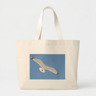 Seagull flying large tote bag