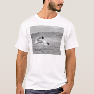 Seagull Flying Low Over Beach Sand T-Shirt