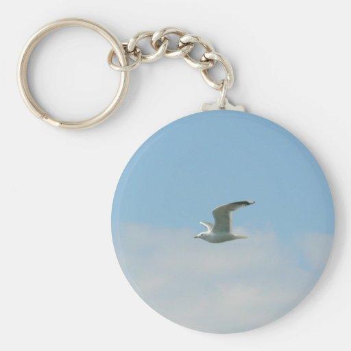 Seagull Flying Over Ocean Key Chain
