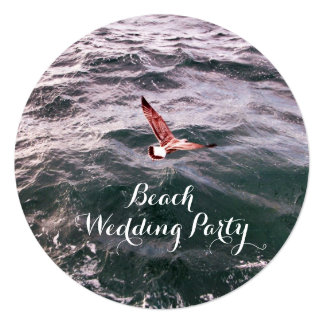 SEAGULL FLYING OVER THE WAVES BEACH WEDDING CARD