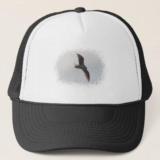 Seagull flying overhead trucker hat