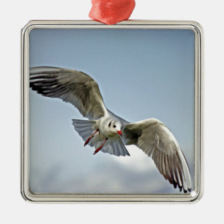 Seagull Flying with Wings Spread Metal Ornament