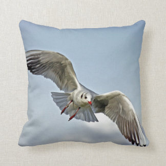 Seagull Flying with Wings Spread Throw Pillow