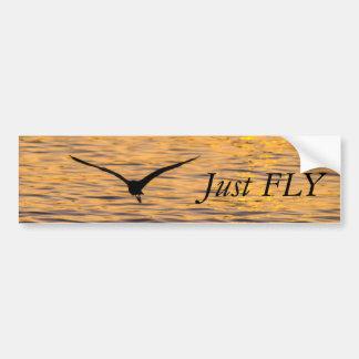 Seagull Gliding over Golden Sea Bumper Sticker