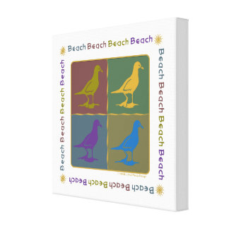 Seagull Graphic Pop Art Style Canvas Print
