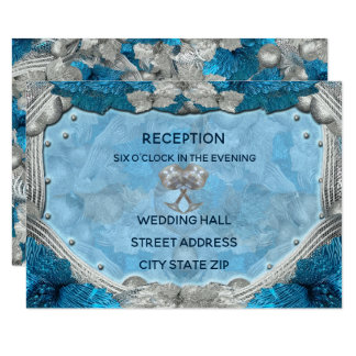 Seagull Harp Wedding Reception Card