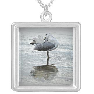 Seagull Image Square Pendant Necklace