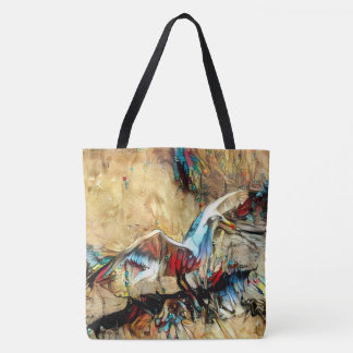 seagull in bright colors tote bag