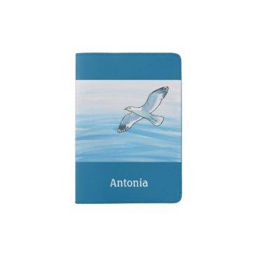 Beach Themed Seagull in Flight Passport Holder