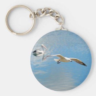 Seagull In Flight - Pelican on Water Keychains
