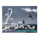 Seagull in flight postcard