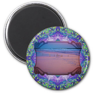Seagull in Pink and Blue Seascape at Dawn 2 Inch Round Magnet