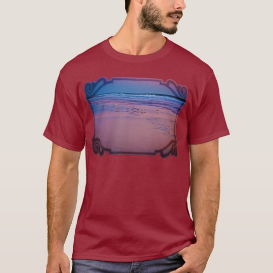 Seagull in Pink and Blue Seascape at Dawn T-Shirt