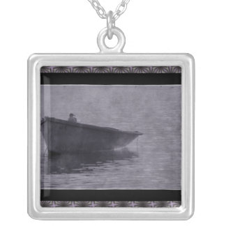 Seagull In The Mist. Square Pendant Necklace