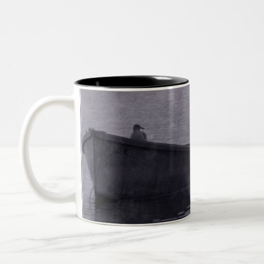 Seagull In The Mist. Two-Tone Coffee Mug