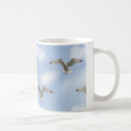 Seagull In The Sky Pattern Mugs