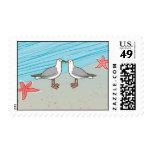 seagull kissing beach stamp
