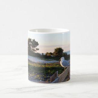 Seagull meeting the sunset coffee mug