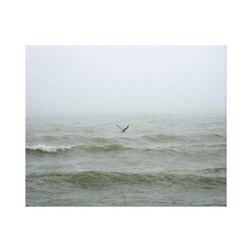 Seagull misty seascape waves canvas print