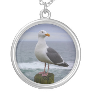 Seagull Round Pendant Necklace