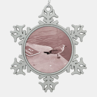 seagull no fishing cant read sepia snowflake pewter christmas ornament