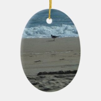 Seagull on a Beach Ceramic Ornament