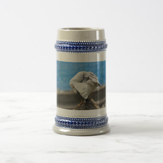 Seagull on a rock beer stein