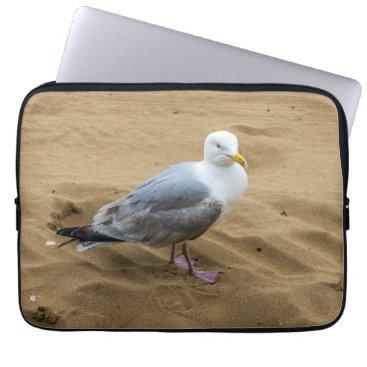 Beach Themed Seagull on a sandy beach laptop sleeve