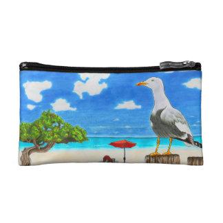 Seagull on a sunny beach cosmetic bag