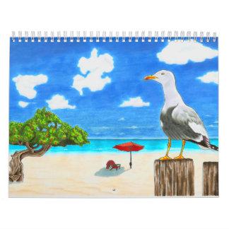 Seagull on a sunny beach under blue sky calendar
