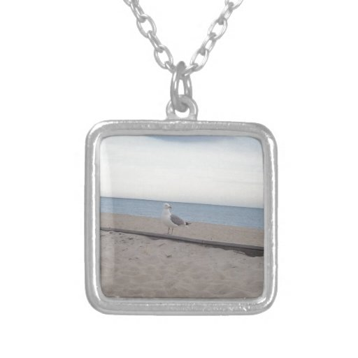 Seagull on Beach Square Pendant Necklace