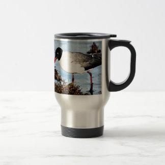 Seagull on beach travel mug