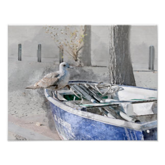 Seagull on Boat Watercolor Poster