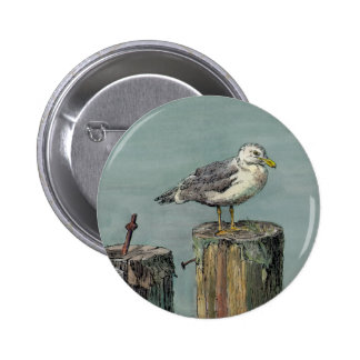 SEAGULL on PILING by SHARON SHARPE Pinback Button