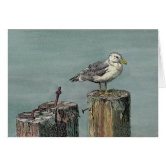 SEAGULL on PILINGS by SHARON SHARPE Greeting Card