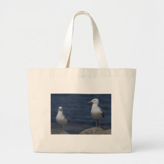 Seagull On Rock Large Tote Bag