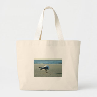Seagull on the Beach Large Tote Bag