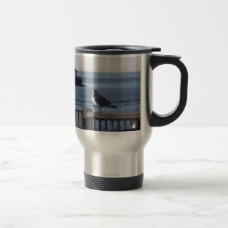 Seagull on the harbor bay mugs