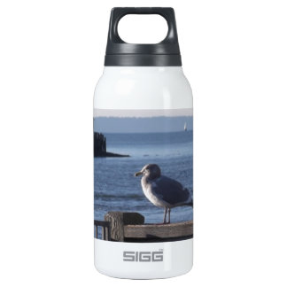 Seagull on the harbor bay thermos bottle