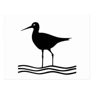 Seagull on the water Silhouette - Postcard
