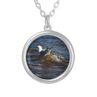 SEAGULL ON WAVE QUEENSLAND AUSTRALIA ROUND PENDANT NECKLACE