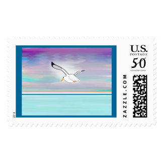 Seagull Over the Sea Postage