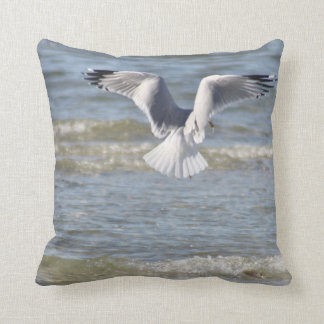 Seagull photography throw pillow