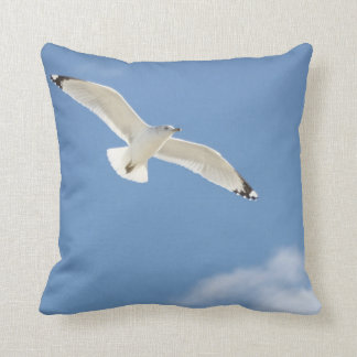 Seagull photography throw pillow