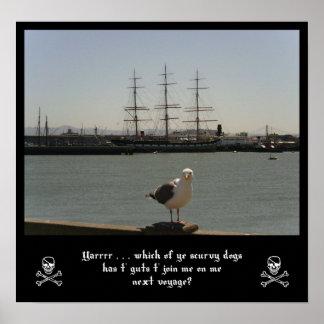 Seagull Pirate Art Print
