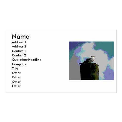 Seagull sitting on a dock posterized photograph business cards