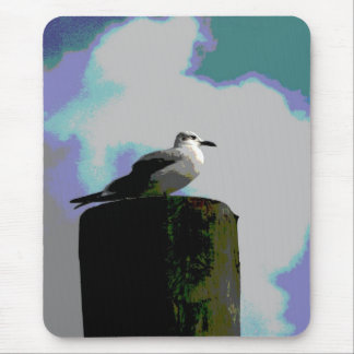 Seagull sitting on a dock posterized photograph mouse pad
