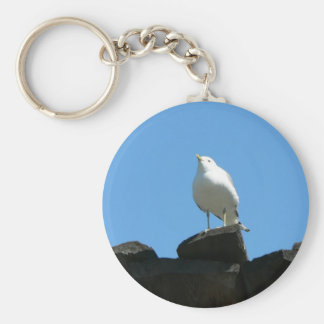 Seagull Standing On Dock Basic Round Button Keychain